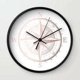 Rose Gold Compass Wall Clock