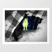 Cat under the table Art Print