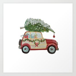 Vintage Christmas car with tree red Art Print