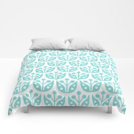 Mid Century Modern Flower Pattern 731 Turquoise Comforters