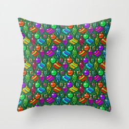 Tie Dye Holiday Ornaments Throw Pillow