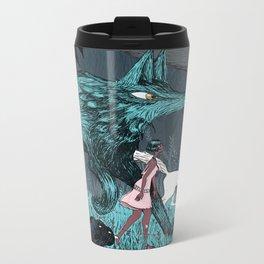 Woman Wolf wandering Metal Travel Mug