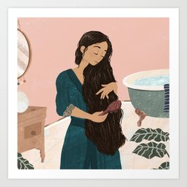 Lady In Bathroom Art Print
