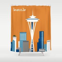 Seattle, Washington - Skyline Illustration by Loose Petals Shower Curtain