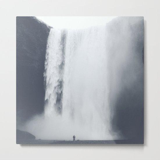 Dark & Eerie Waterfall in Nature Metal Print