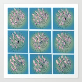 Taking Flight - Blue Pink Green & Black Palette Art Print