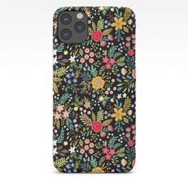 Amazing floral pattern with bright colorful flowers, plants, branches and berries on a black backgro iPhone Case