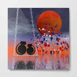 mooncats and their candytree Metal Print