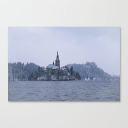 Misty Bled Lake Canvas Print