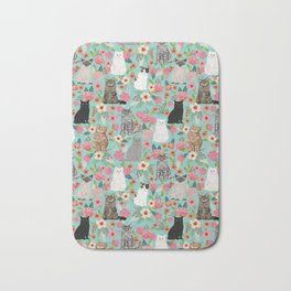 Cats floral mixed breed cat art cute gifts for cat ladies cat lovers pet art Bath Mat