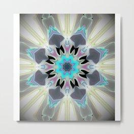 Aqua Peacock Inspired Mandala Metal Print