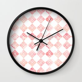 Pink Chinese check pattern Wall Clock
