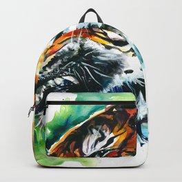 Orange Mad Tiger Watercolor Backpack
