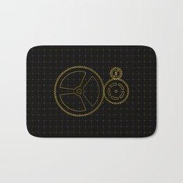 Set of orange gears and cogs on virtual screen Bath Mat