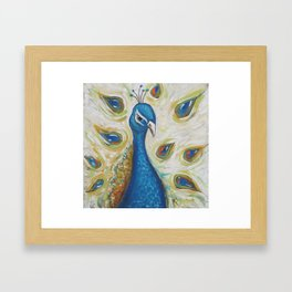 Peacock with White Framed Art Print