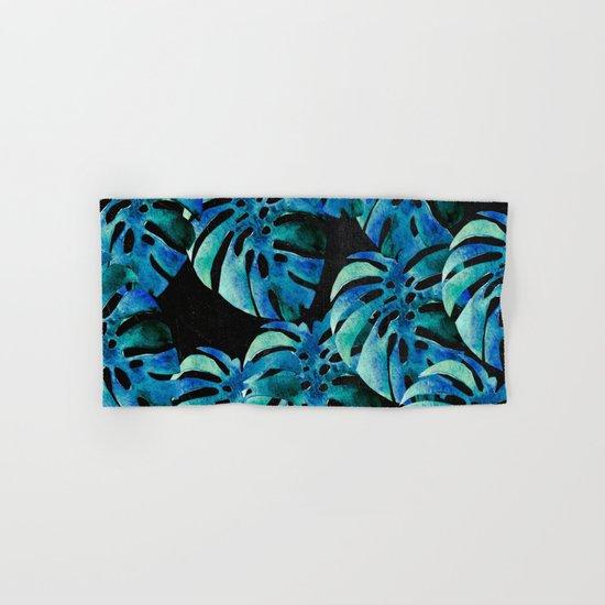 Monstera Pattern Blue On Chalkboard Hand & Bath Towel