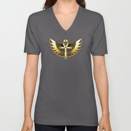 Gold Ankh with Wings Unisex V-Neck