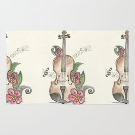 Violin and Flowers Rug