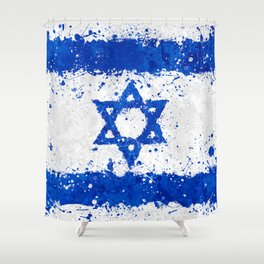 Israel Flag - Messy Action Painting Shower Curtain