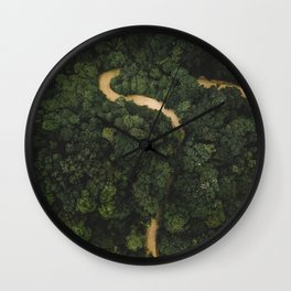 From Above Overview Of Dense Green Forest Wall Clock