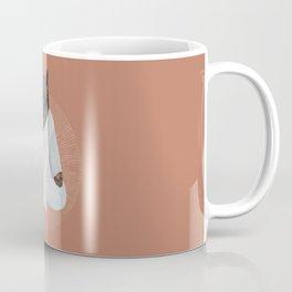 meditating cat - black Coffee Mug