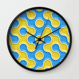 Yellow Blue Truchet Tilling Pattern Wall Clock