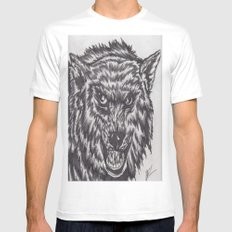 Angry wolf MEDIUM White Mens Fitted Tee