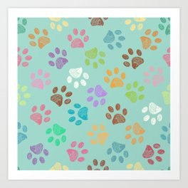 Doodle colorful paw candy colors pattern Art Print