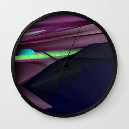 Strange psychedelic landscap with stylised mountains, sea and light blue Sun. Wall Clock