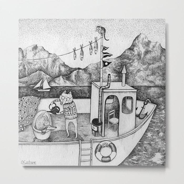 Fox on Fishing-boat Metal Print