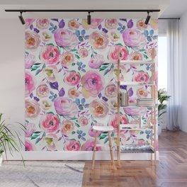 Elegant modern pink lilac orange watercolor floral Wall Mural