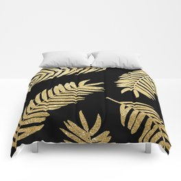 Gold Glitter Palms     Black Background Comforters