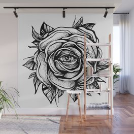 Black Rose flower With the eye Wall Mural