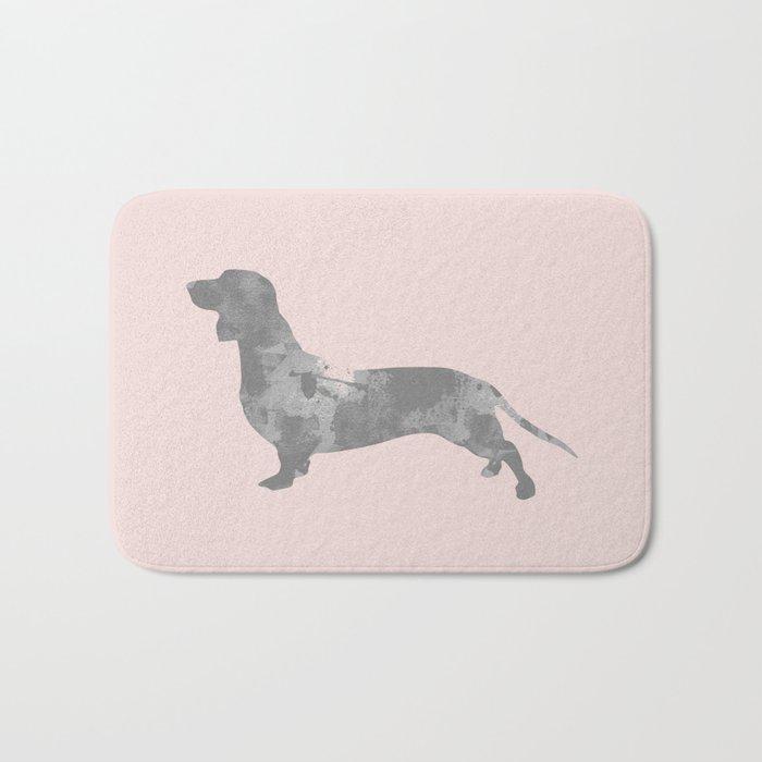 Dachshund pink and black Bath Mat