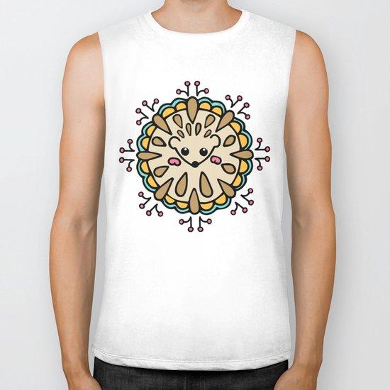 Hedgehog Paisley_Colors and White Biker Tank