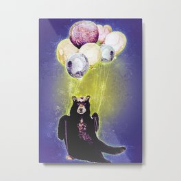 Bear With Ballons Metal Print
