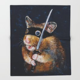 Ninja Hamster Throw Blanket