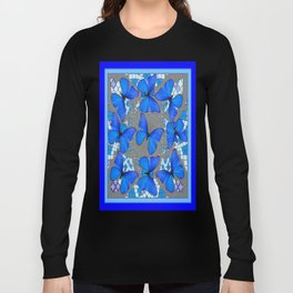 Decorative Blue Shades Butterfly Grey Pattern Art Long Sleeve T-shirt