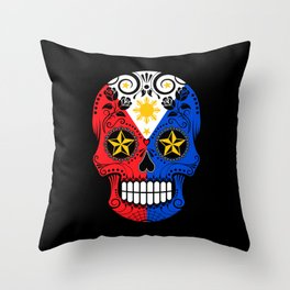 Sugar Skull with Roses and Flag of Philippines Throw Pillow
