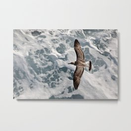 "Travel photography ""turquoise sea with waves and seagull"" Greece, Europe, fine art photo print, color Metal Print"