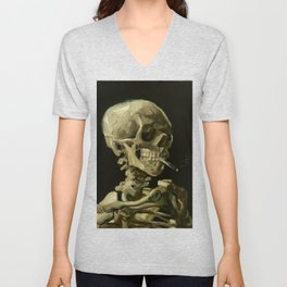 Vincent van Gogh Head of a Skeleton with a Burning Cigarette Unisex V-Neck
