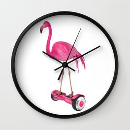 Flamingo on the Hover Board Wall Clock