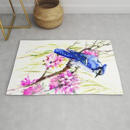 Blue Jay and Cherry Blossom, Blue Pink Birds and Flowers Rug