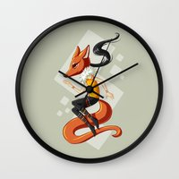 kitsune Wall Clocks featuring Kitsune 2 by Freeminds