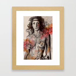Colony Collapse Disorder (topless warrior woman with leaves on nude breasts) Framed Art Print