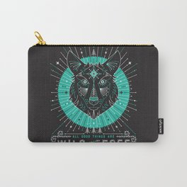 Wild & Free Wolf – Turquoise & Grey Carry-All Pouch