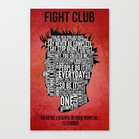 tyler durden Canvas Prints featuring Typography Tyler Durden Uncensored by Adam Grey