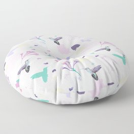 Hummingbird and flower pastel petal pattern Floor Pillow