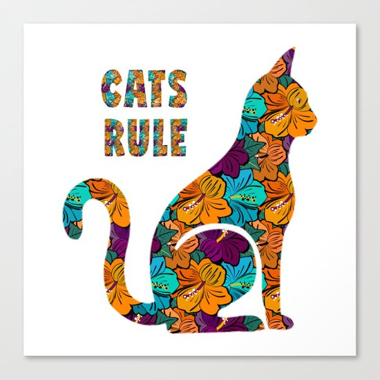 Cats Rule Silhouette With Hibiscus Flowers Canvas Print