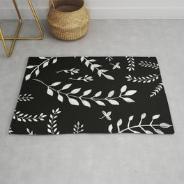 White Leaves Pattern #3 #drawing #decor #art #society6 Rug
